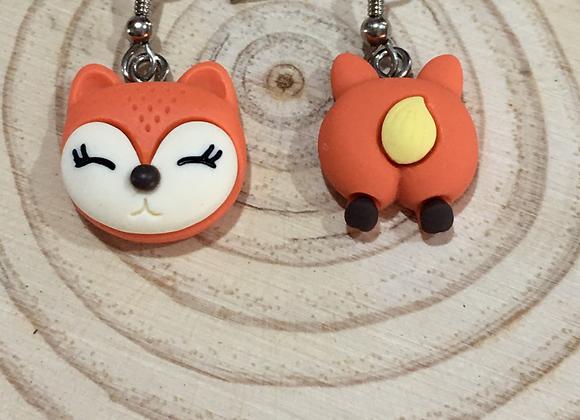 Handmade fox earrings.