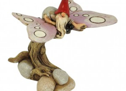 Fairy Garden Gnome on Butterfly