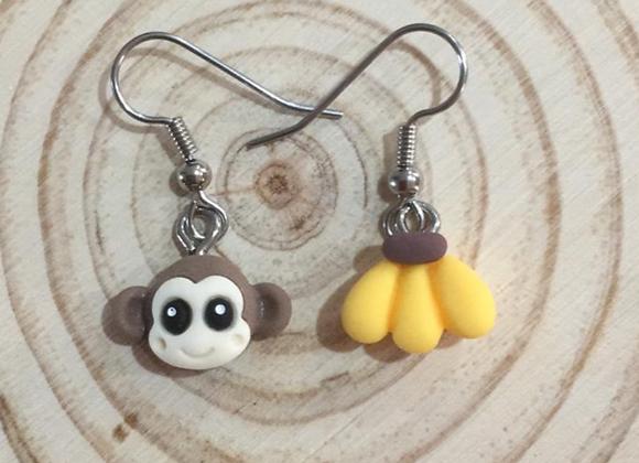 Monkey and banana earrings