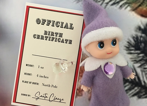 Purple baby girl elf with dummy and birth certificate