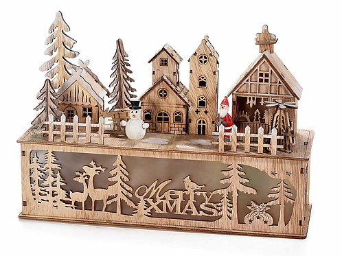 Paesaggio merry xmas natalizio legno luce led
