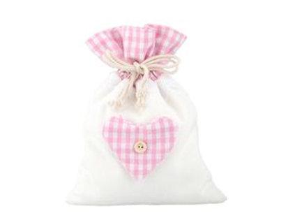 Sacchetto cotone e poliestere rosa con cuore piccolo