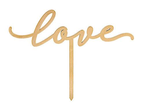 """Cake topper oro scritta """"Love"""""""