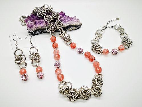 Parure argento con Ossidiana nobile ruby