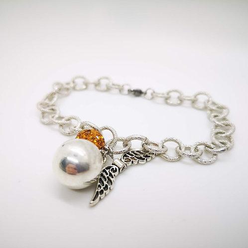 Bracciale chiama angeli silver strass arancione