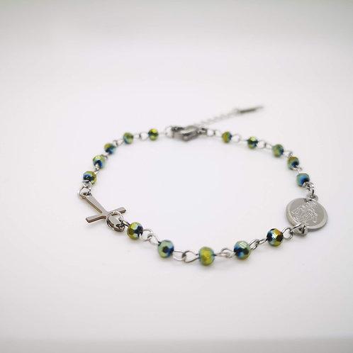 Bracciale rosario acciaio cristalli verde cangiante