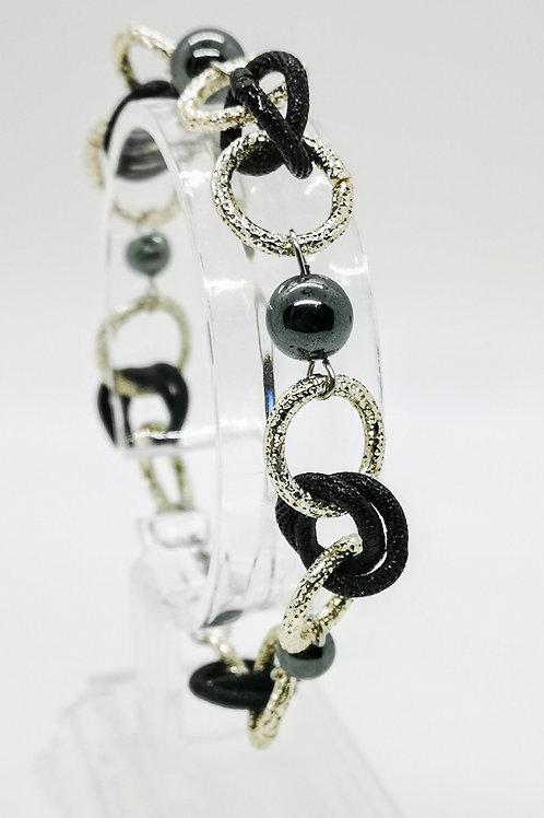 Bracciale argento e nero con Ematite naturale