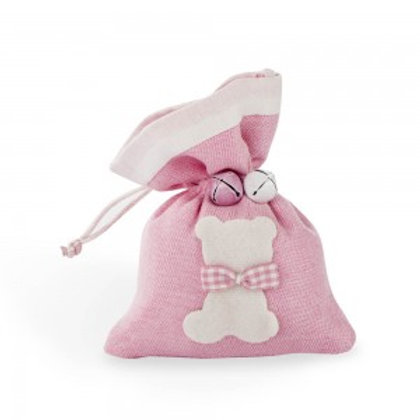Sacchetto rosa con sagoma orsetto