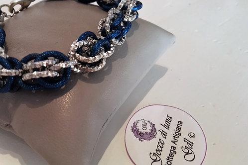 Bracciale sweetpea blu e argento