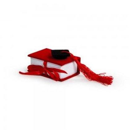 Bomboniera portaconfetti libro laurea rosso con cappello nero