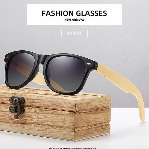 Occhiali da sole legno bambù e lenti nere