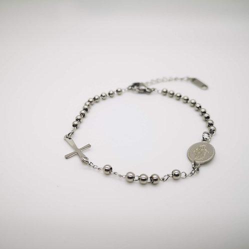 Bracciale rosario acciaio con palline