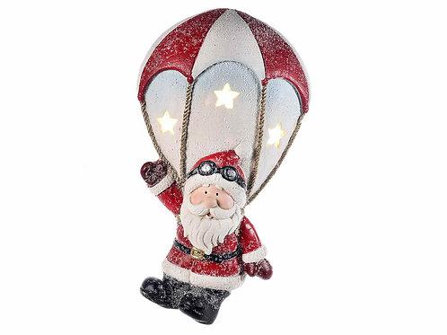 Babbo Natale ceramica con paracadute da appendere e luce LED