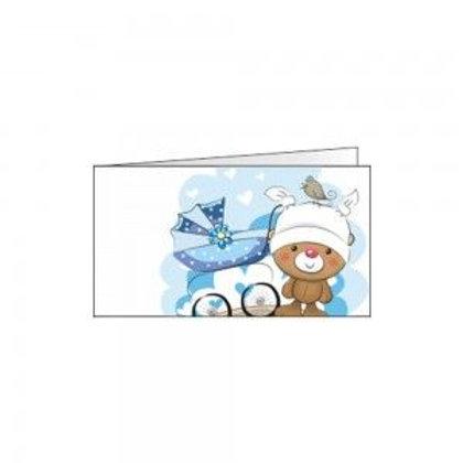 Bigliettino orsetto e carrozzina azzurro