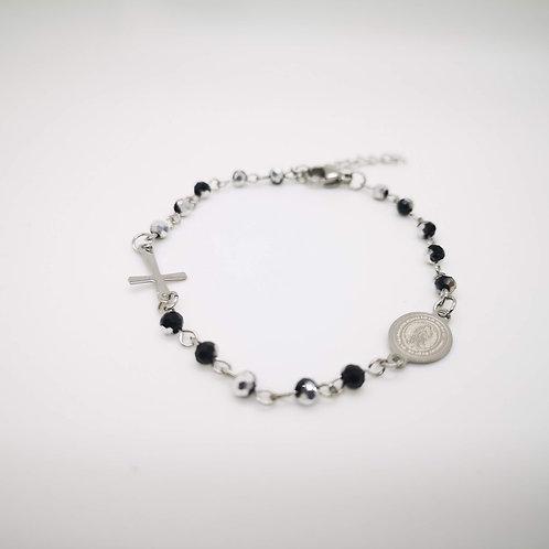 Bracciale rosario acciaio cristalli neri e silver bicolor