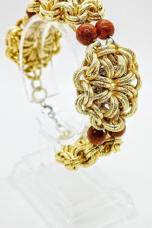 Bracciale oro con pietra del sole naturale