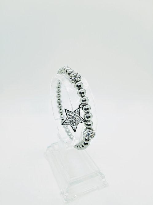 Bracciale in acciaio elastico pendente a stella con strass
