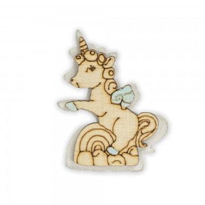 Bomboniera decoro in legno unicorno azzurro