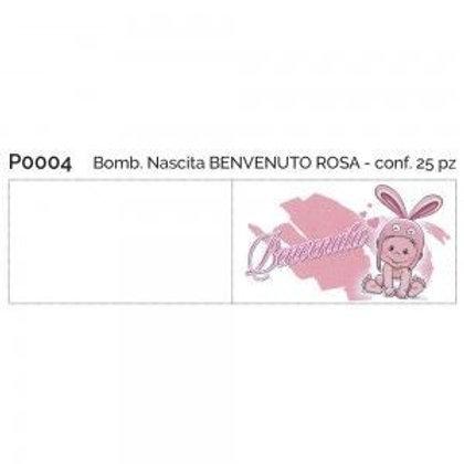 Bigliettino nascita benvenuta rosa