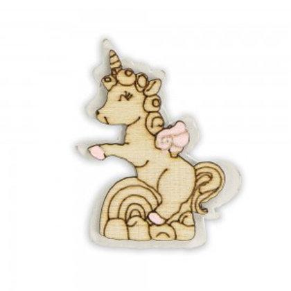 Bomboniera decoro in legno unicorno rosa