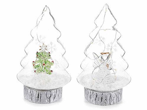 Albero in vetro con decorazione, neve artificiale e luce led
