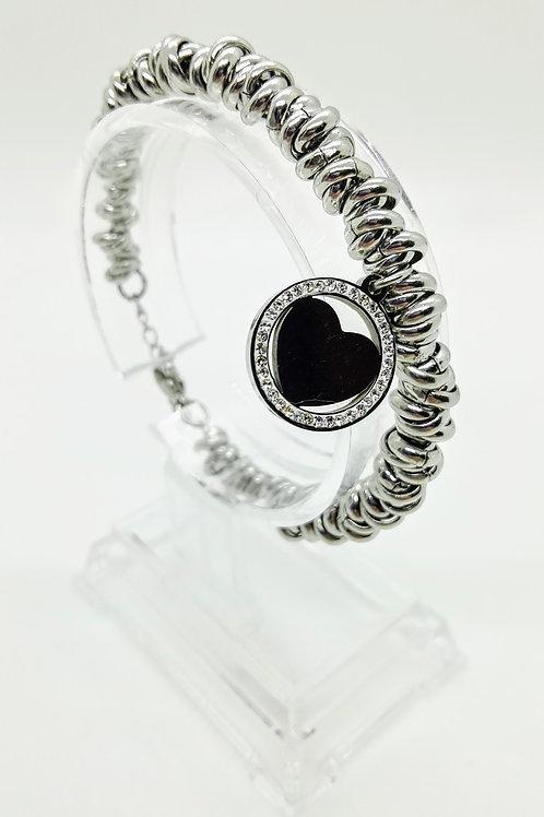 Bracciale in acciaio maglia ad anelli pendente cuore con strass