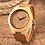 Thumbnail: Orologio in legno naturale e cuoio con rosa dei venti