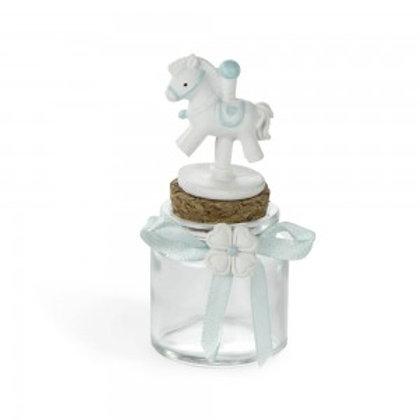 Bomboniera in resina barattolo azzurro nascita con cavallino
