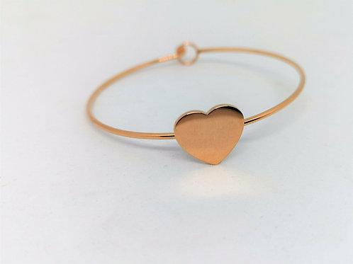 Bracciale rigido cuore color oro rosa