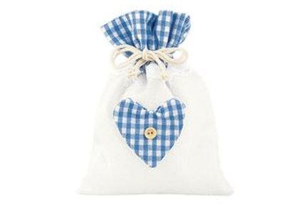 Sacchetto cotone e poliestere blu con cuore piccolo