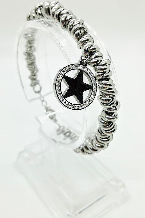Bracciale in acciaio maglia ad anelli pendente stella con strass
