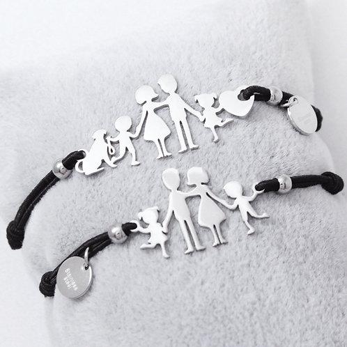 Bracciale famiglia acciaio elastico
