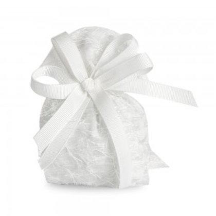 Sacchettino bianco con piume, cubo piccolo