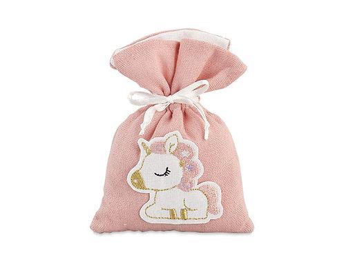 Sacchetto rosa con unicorno