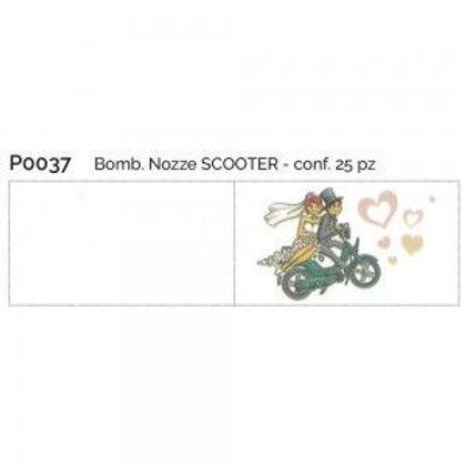 Bigliettino matrimonio sposi scooter