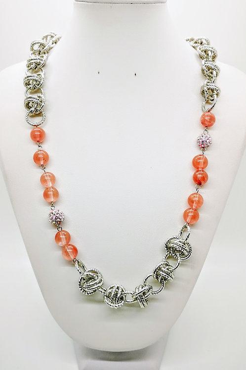 Collana argento con Ossidiana nobile ruby