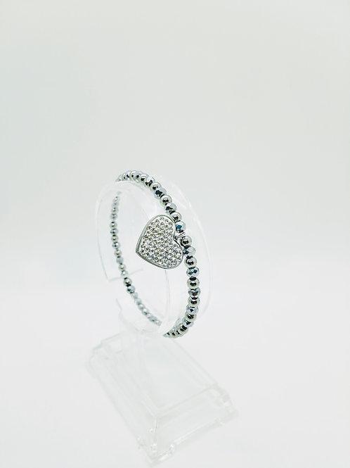 Bracciale in acciaio elastico argentato pendente cuore