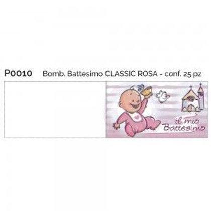 Bigliettino battesimo classic rosa