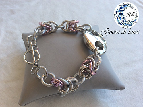 Bracciale rosa e argento