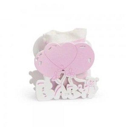 Bomboniera Nascita Porta confetti Baby In Legno Con Palloncini Rosa