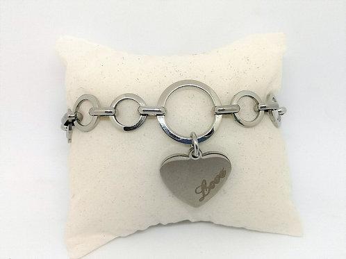 """Bracciale ciondolo cuore """"love"""""""