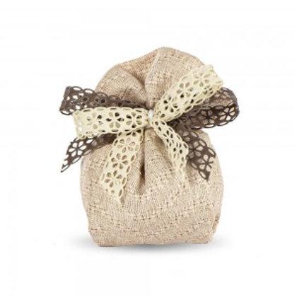 Sacchetto portaconfetti cotone intrecciato Cipria cubo