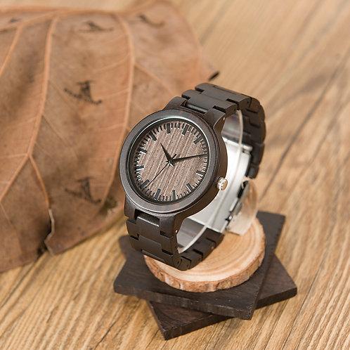 Orologio in legno di ebano scuro quadrante tondo