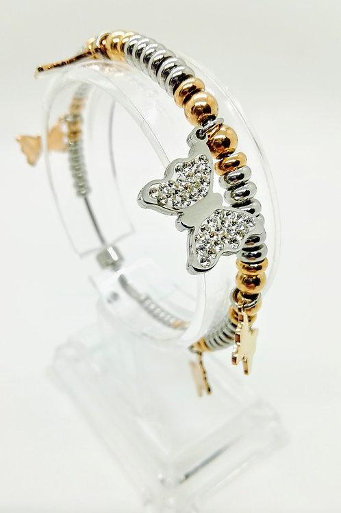 Bracciale acciaio bicolor farfalla con strass