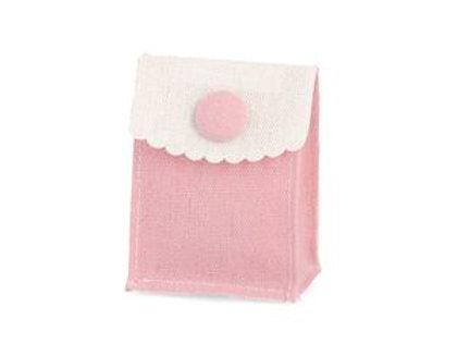 Bustina cotone con bottone rosa