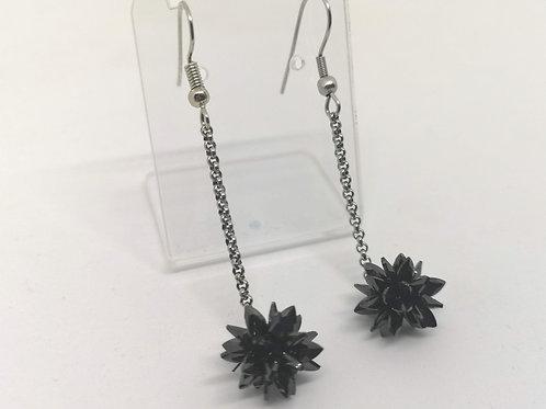 Orecchini ciondolo fiocco di neve 3D swarovski nero