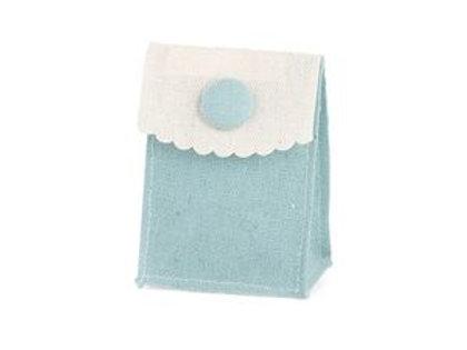 Bustina cotone con bottone azzurra