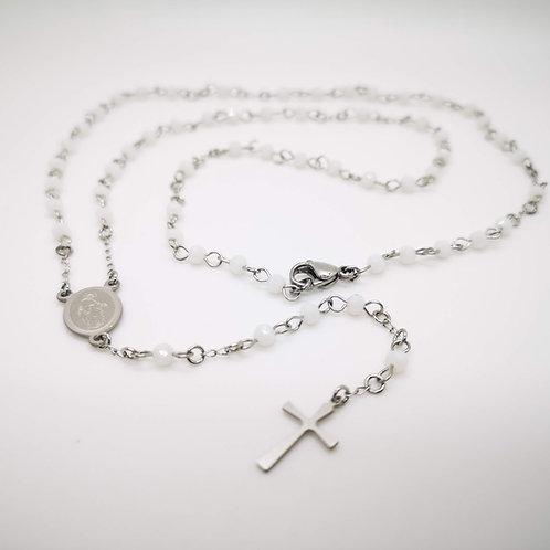 Collana rosario acciaio cristalli bianchi