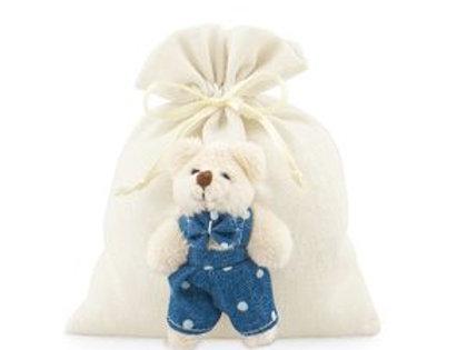 Sacchetto cotone con orsetto blu