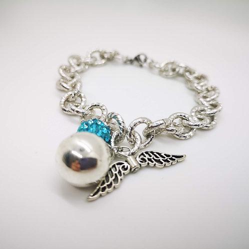Bracciale chiama angeli argento strass azzurro